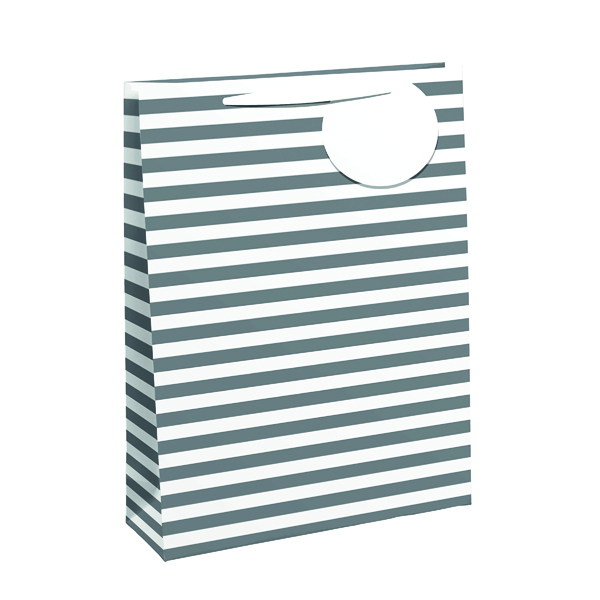 Paper Striped Gift Bag Medium White/Silver (6 Pack) 26658-3