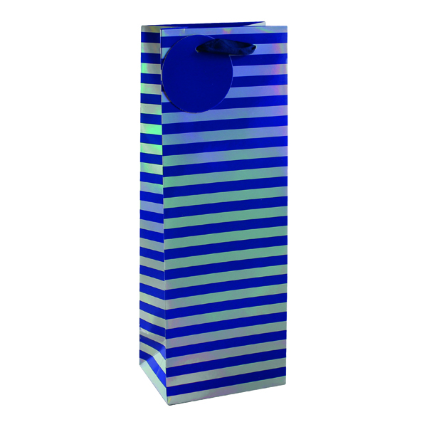 Paper Striped Bottle Bag Blue/Silver (6 Pack) 26655-4