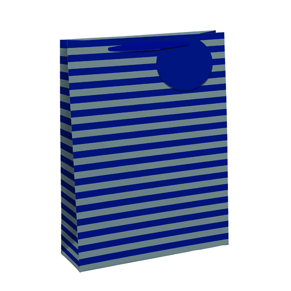 Paper Striped Gift Bag Large Blue/Silver (6 Pack) 26655-2