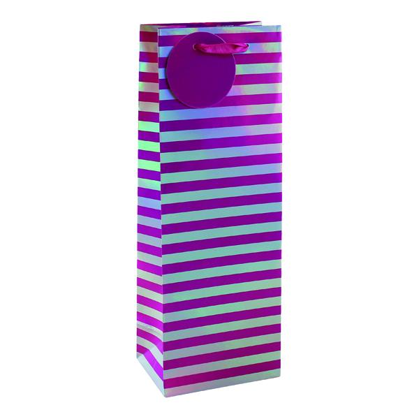 Paper Striped Bottle Bag Pink/Silver (6 Pack) 26652-4