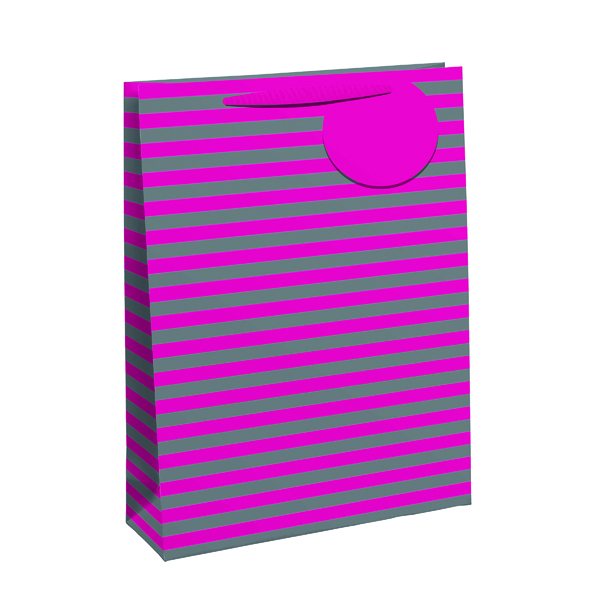 Paper Striped Gift Bag Large Pink/Silver (6 Pack) 26652-2