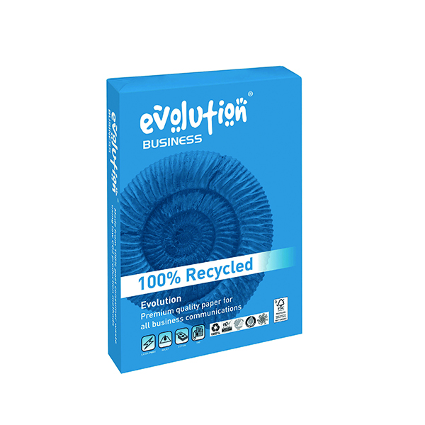 White 100gsm Evolution White A4 100gsm Business Recycled Paper Ream 500 EVBU21100