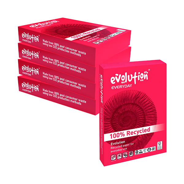 Less than 80gsm White/Colour Evolution White Everyday A4 Recycled Paper 75gsm (2500 Pack) EVE2175