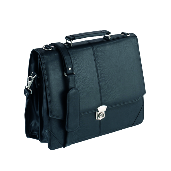 Other Manmade Falcon Synthetic Leather Flapover Briefcase Black 2584