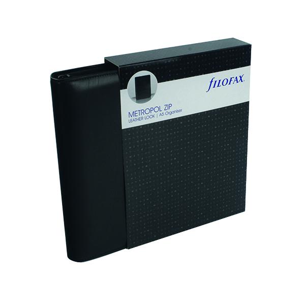 A5 Filofax Metropol Organiser Zipped A5 Black 026979