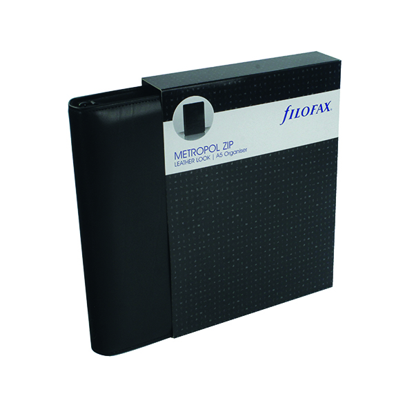 Personal Organisers Filofax Metropol Organiser Zipped A5 Black 026979
