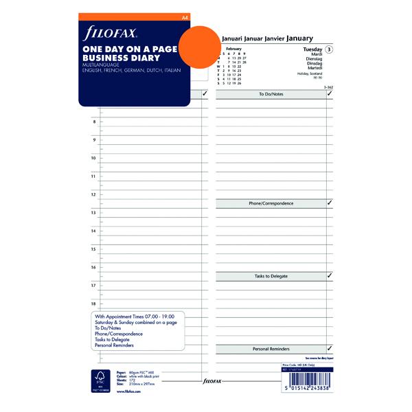 Day a Page Filofax Refill Day Per Page A4 2021 21-68719