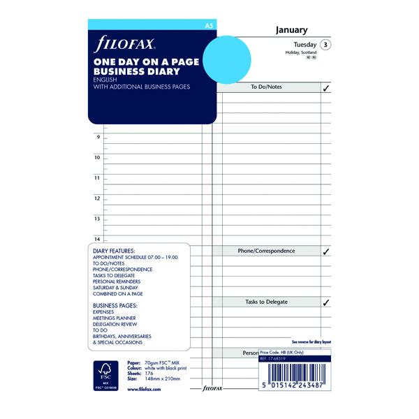 Day a Page Filofax Refill Day Per Page A5 2021 21-68519