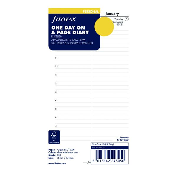 Day a Page Filofax Refill Day Per Page Personal 2021 21-68441