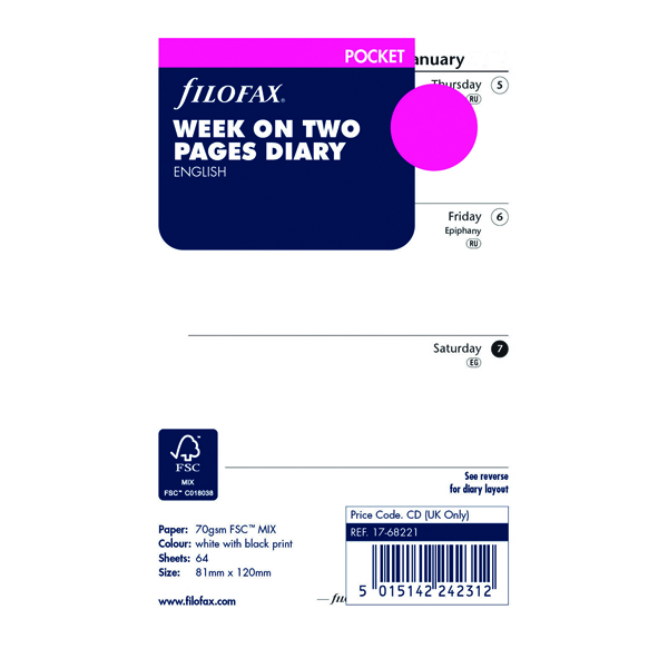 Week to View Filofax Refill Week to View Pocket 2021 21-68221