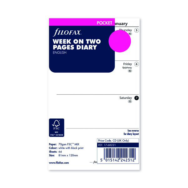 Week to View Filofax Refill Week to View Pocket 2022 22-68221