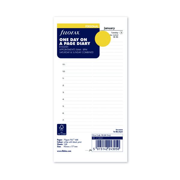 Day a Page Filofax Refill Day Per Page Personal 2022 22-68441