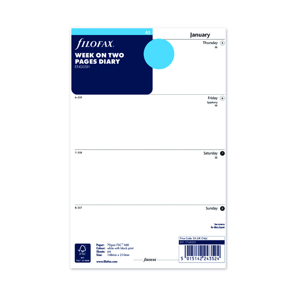 Week to View Filofax Refill Week to View A5 2022 22-68522