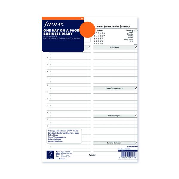 Day a Page Filofax Refill Day Per Page A4 2022 22-68719