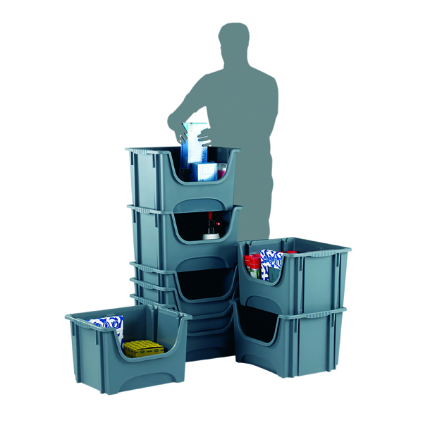 Containers Barton Stack Bin 495x390x320mm 50Litre (5 Pack) Grey E54SB/5