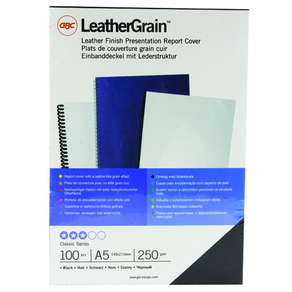 GBC LeatherGrain 250gsm A5 Black Binding Covers (100 Pack) 4400017