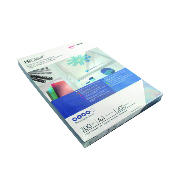 Unspecified GBC HiClear PVC 200 Micron A4 Super Clear Binding Covers (100 Pack) CE012080U