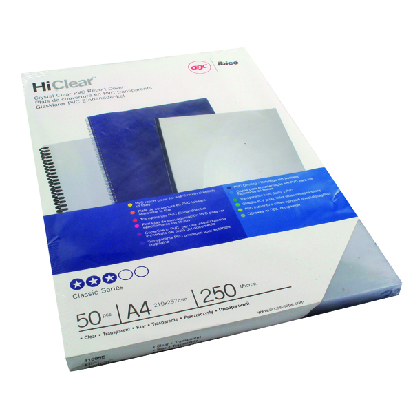 Unspecified GBC HiClear PVC 250 Micron A4 Clear Binding Covers (50 Pack) 41605E