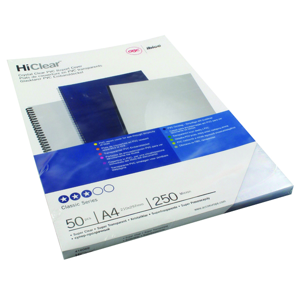 Unspecified GBC HiClear PVC 250 Micron A4 Super Clear Binding Covers (50 Pack) 41606E