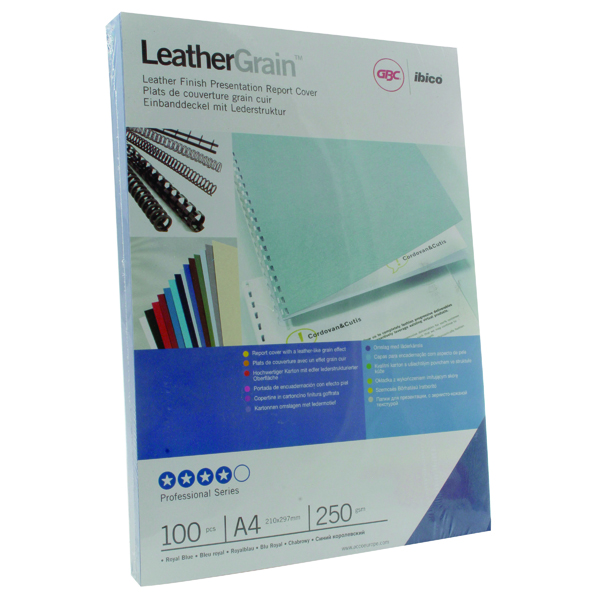 Unspecified GBC LeatherGrain 250gsm A4 Royal Blue Binding Covers (100 Pack) CE040029
