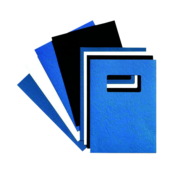 Unspecified GBC LeatherGrain 250gsm A4 With Title Window Blue Binding Covers (50 Pack) 46735E