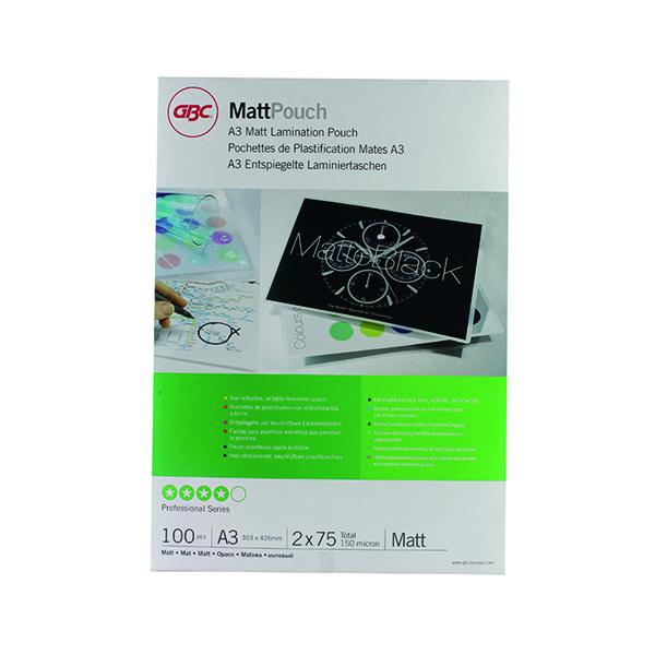 Laminating Film & Pockets GBC A3 Matt Laminating Pouch 150 Micron (100 Pack) 41660E