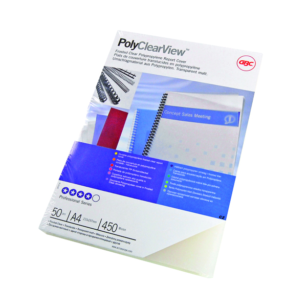 GBC PolyClearView Binding Covers 350 Micron A4 Clear Matte (100 Pack) IB387166
