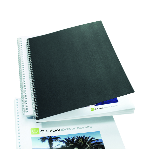 GBC LinenWeave Binding Covers 250gsm A4 Black (100 Pack) CE050010