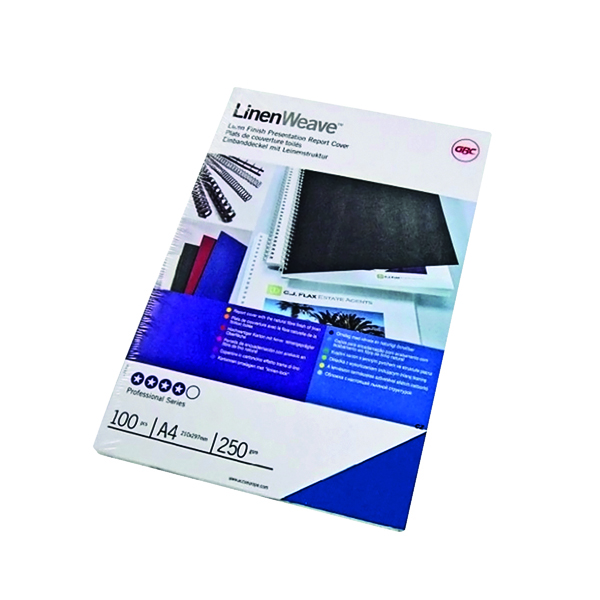 Unspecified GBC LinenWeave Binding Covers 250gsm A4 Royal Blue (100 Pack) CE050010
