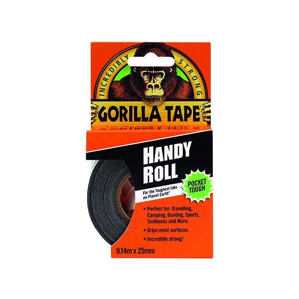 50mm Gorilla Tape Handy Roll 25mm x 9.14m Black 3044401