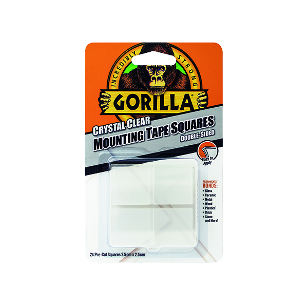 Fixers / Dots / Strips Gorilla Mounting Tape Squares Clear (24 Pack) 3044111