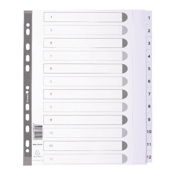 Exacompta Guildhall Mylar Index 1-12 A4 Maxi White MWD1-12Z-EW