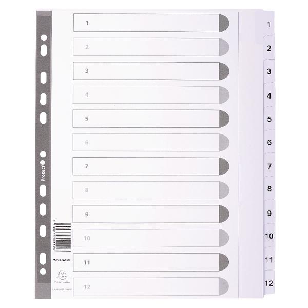 Exacompta Guildhall Mylar Index 1-12 A4 White MWD1-12Z