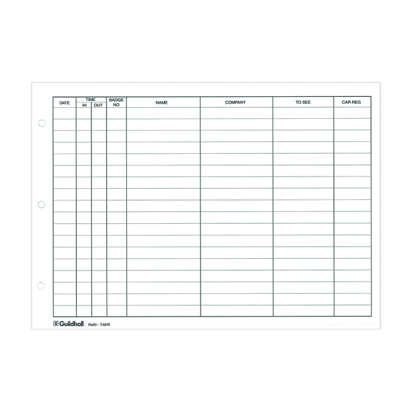 Unspecified Exacompta Guildhall Loose-Leaf Visitors Book Refill (50 Pack) T40/R