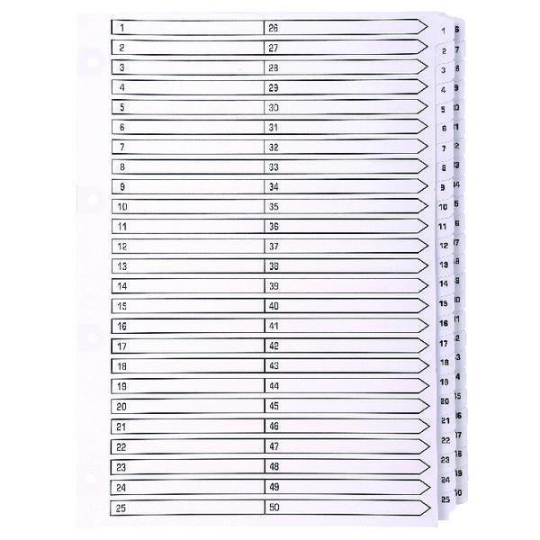 Exacompta Guildhall Mylar Index 1-50 A4 White MWD1-50Z
