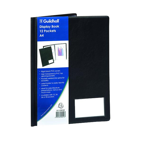 Exacompta Guildhall Display Book 12 Pocket A4 Black CDB12Z