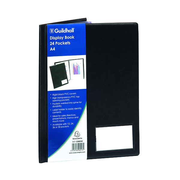 Exacompta Guildhall Display Book 24 Pocket A4 Black CDB24Z
