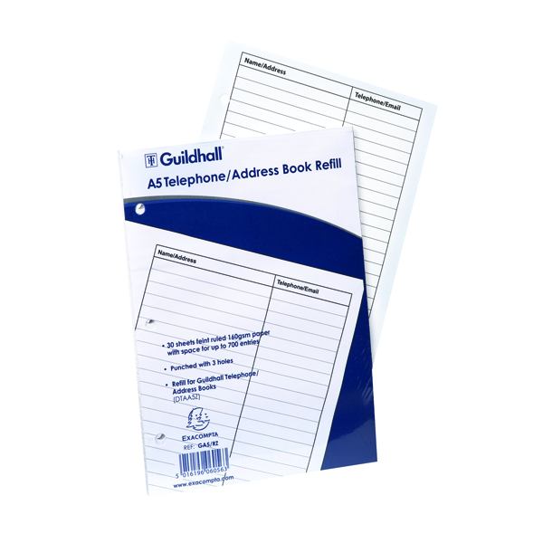 Exacompta Guildhall Ruled Telephone Address Book Refill A5 GA5/R