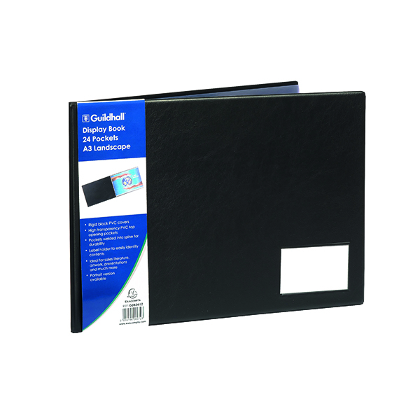 21-30 Pockets Exacompta Guildhall Display Book Landscape 24 Pocket A3 Black GDB24/L
