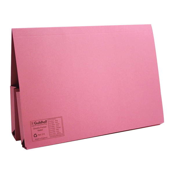 Legal Filing Exacompta Guildhall Legal Double Pocket Wallet Foolscap Pink (25 Pack) 214-PNK