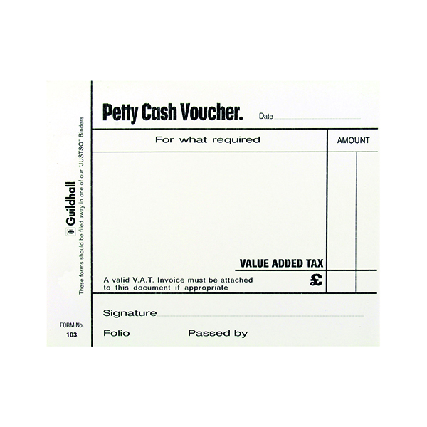Exacompta Guildhall Petty Cash Pad 100 Leaves 127x102mm White (5 Pack) 103 1569