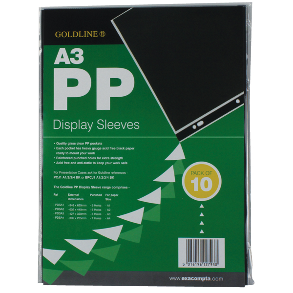 A3 Goldline Polypropylene Display Sleeve A3 (10 Pack) PDSA3Z