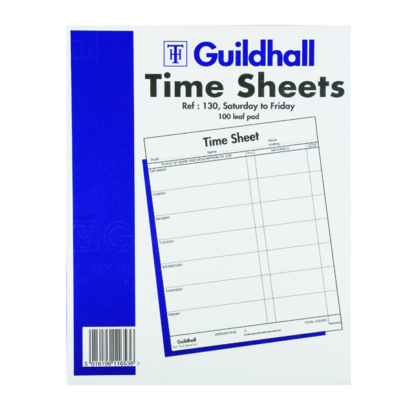 Forms Exacompta Guildhall Work Time Sheet Saturday - Friday 254 x 203mm (100 Pack) 1653