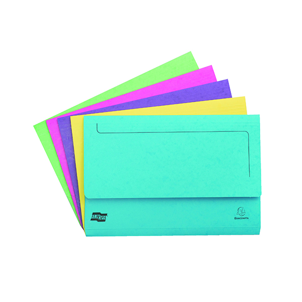 Exacompta Europa Pocket Wallet Foolscap Assorted C (25 Pack) 3156Z