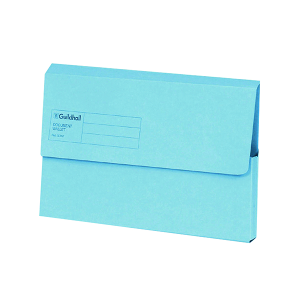 Exacompta Guildhall Document Wallet Foolscap Blue (50 Pack) GDW1-BLU