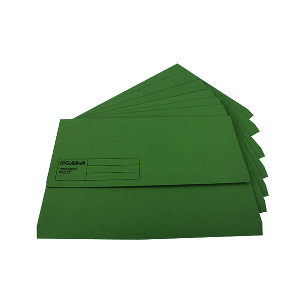 Other Sizes Exacompta Guildhall Document Wallet Foolscap Green (50 Pack) GDW1-GRN