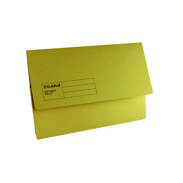 Exacompta Guildhall Document Wallet Foolscap Yellow (50 Pack) GDW1-YLW