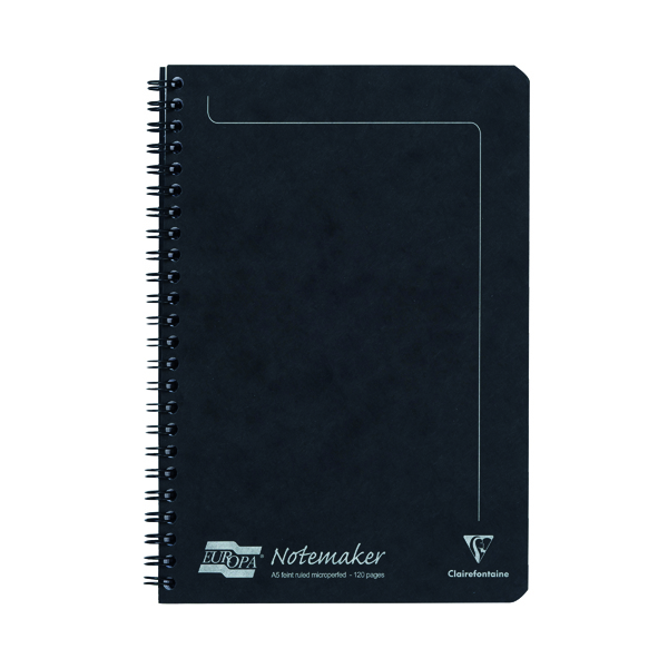 A5 Clairefontaine Europa Notemakers Notebook A5 Black (10 Pack) 4852
