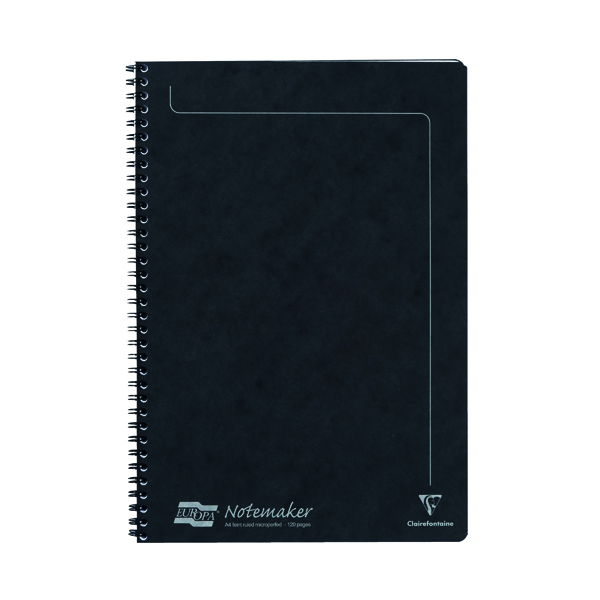 A4 Clairefontaine Europa Notemakers Notebook A4 Black (10 Pack) 4862