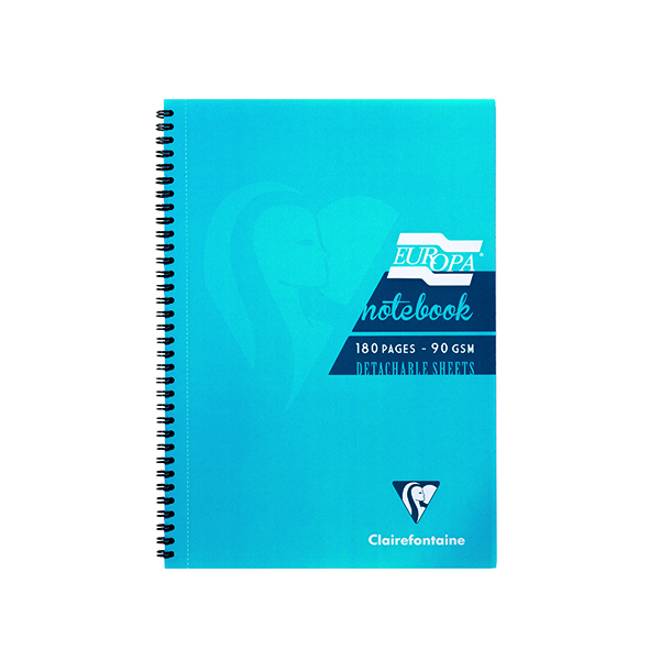 A4 Clairefontaine Europa Notebook 180 Pages A5 Turquoise (5 Pack) 5812Z